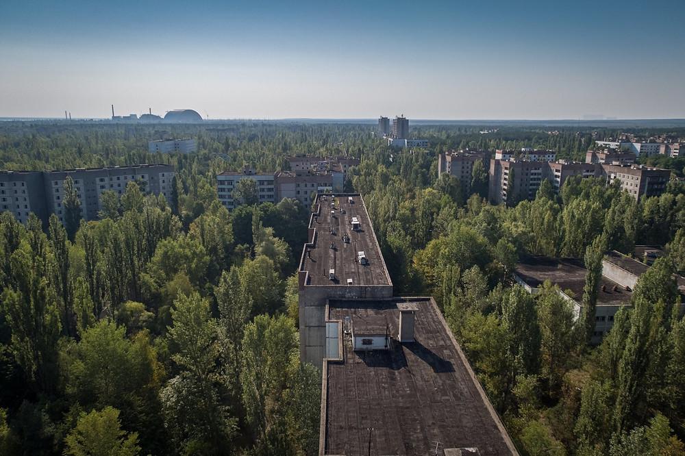 Udsigt ud over området efter Tjernobyl ulykken