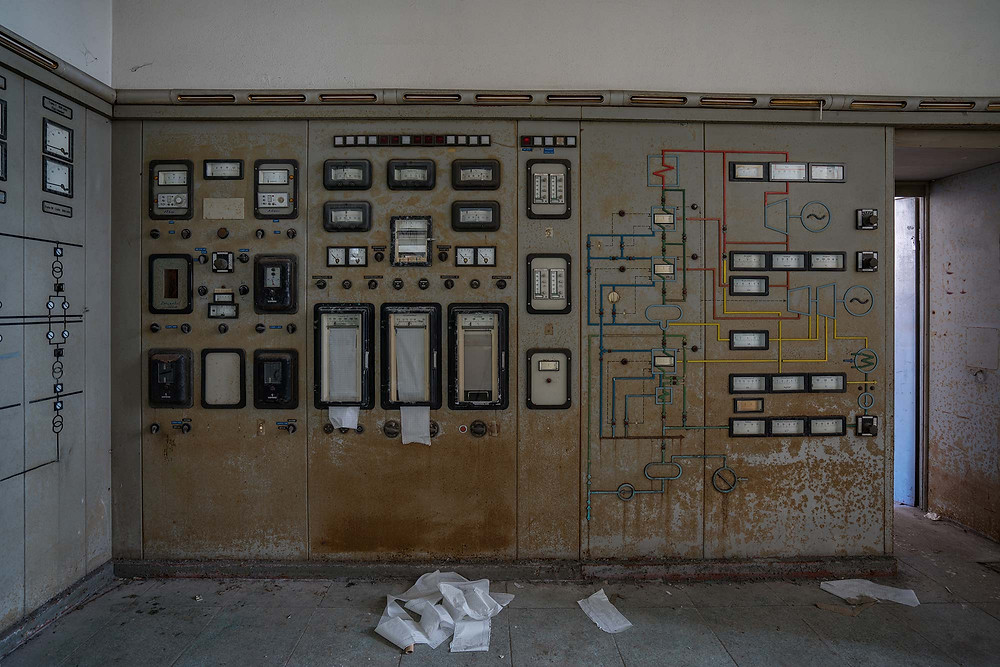 Gauges in the control room at an abandoned power plant