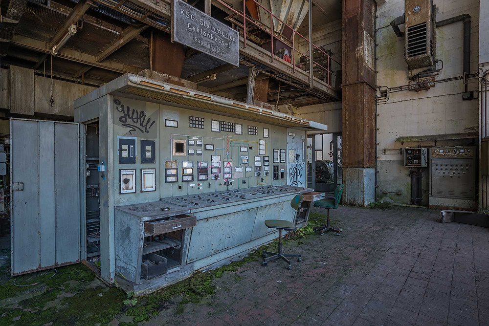 Control panel on an abandoned power plant