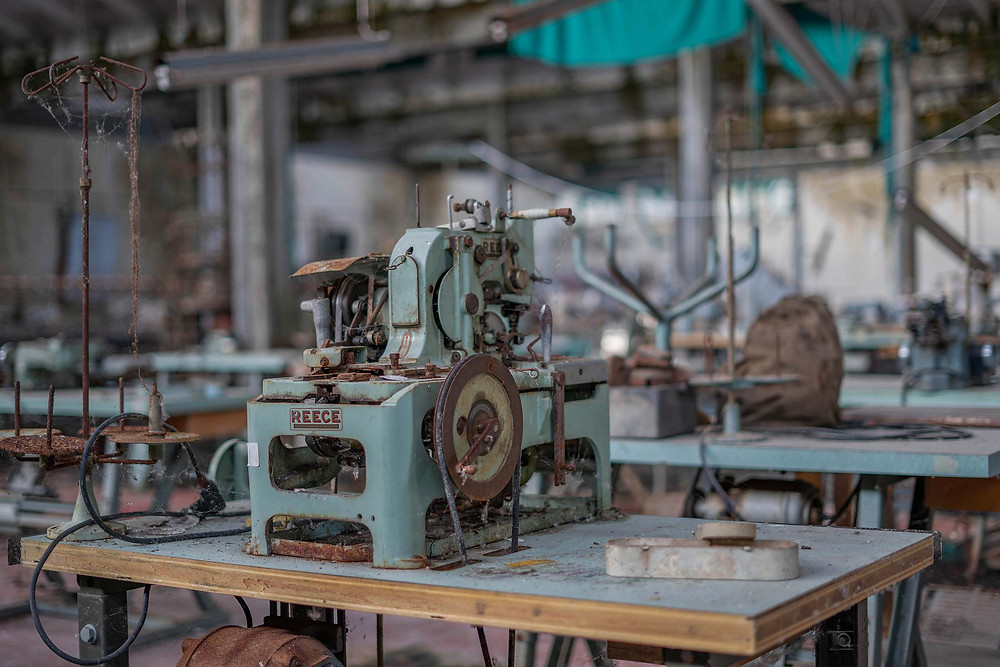Abandoned machines in clothing factory