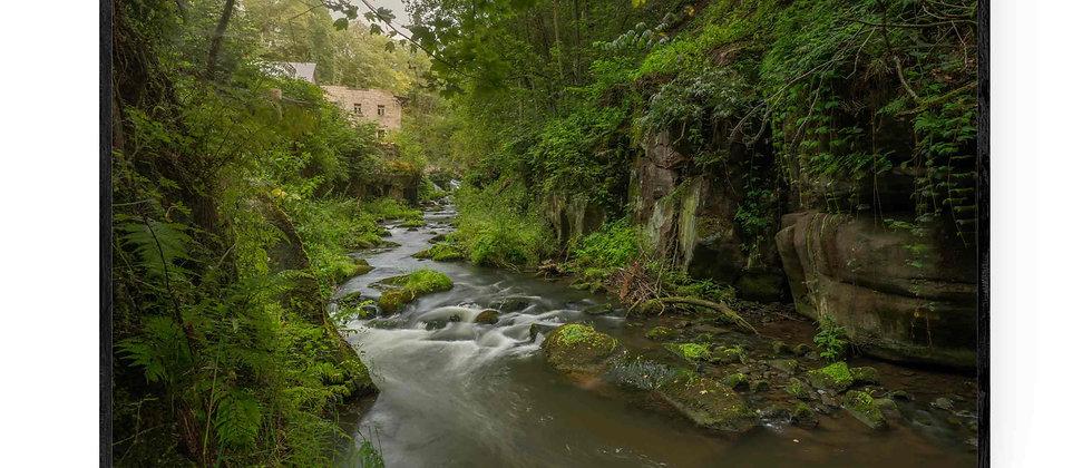Fotokunst natur print af Up Stream i 75x50 cm med sort ramme