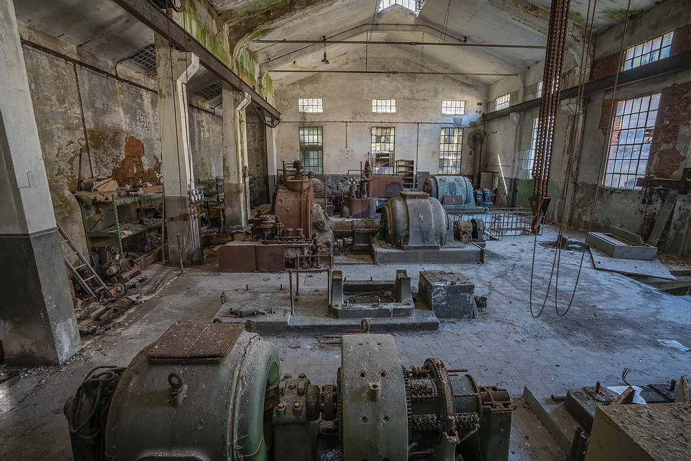 Abandoned turbine hall at a power plant