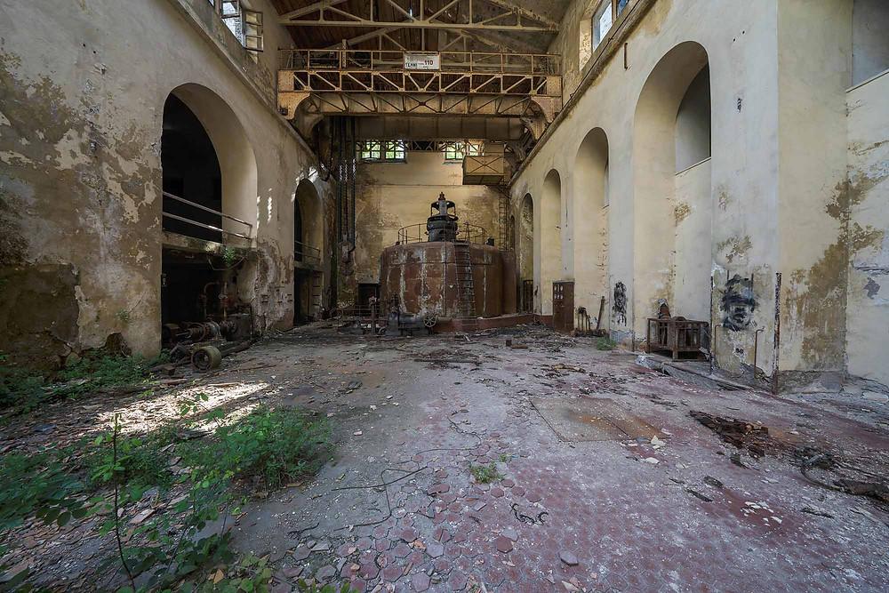 Decayed abandoned turbine hall