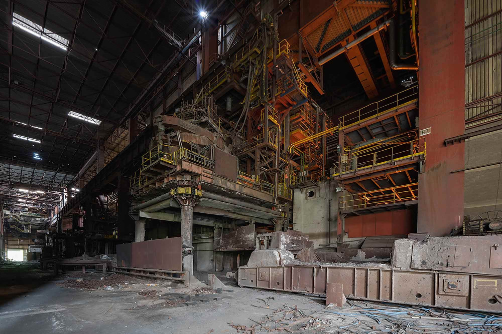 Slag remover on abandoned steelworks in Belgium