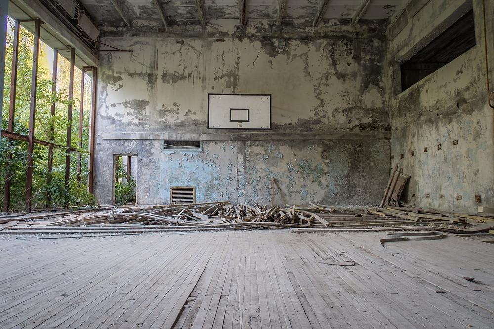 Gymnastikhal efter Tjernobyl ulykken