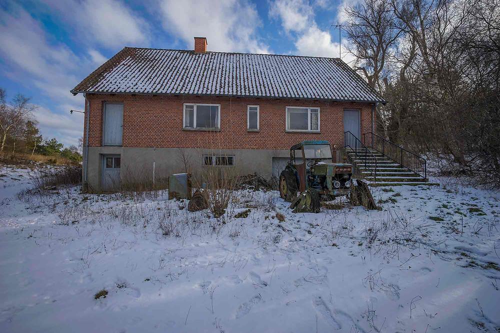 Exterior shot of abandoned farm in Denmark