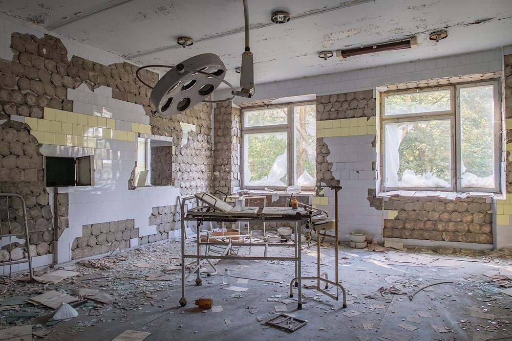 Operationsrum på hospital efter Tjernobyl ulykken