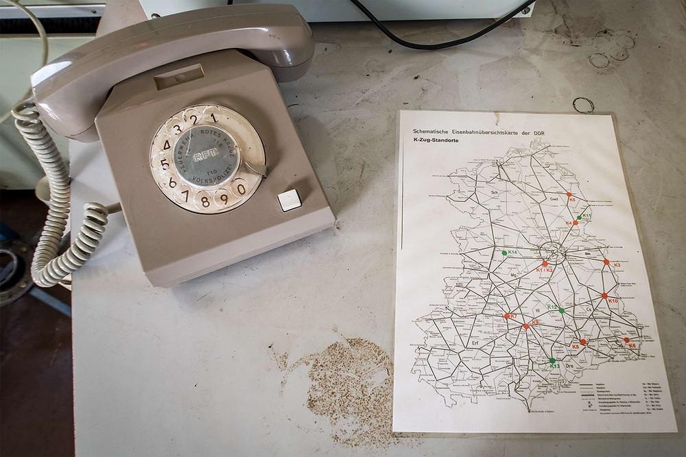 kort over hospitals tog i DDR