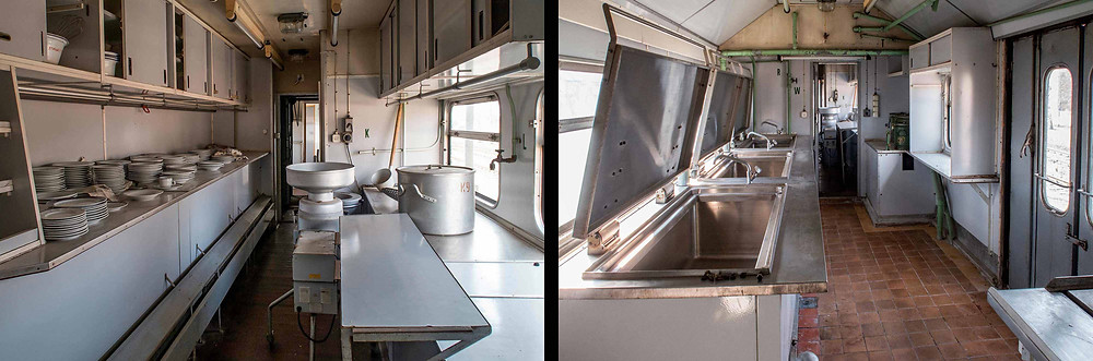 Køkkenvogn i forladt hospitals tog
