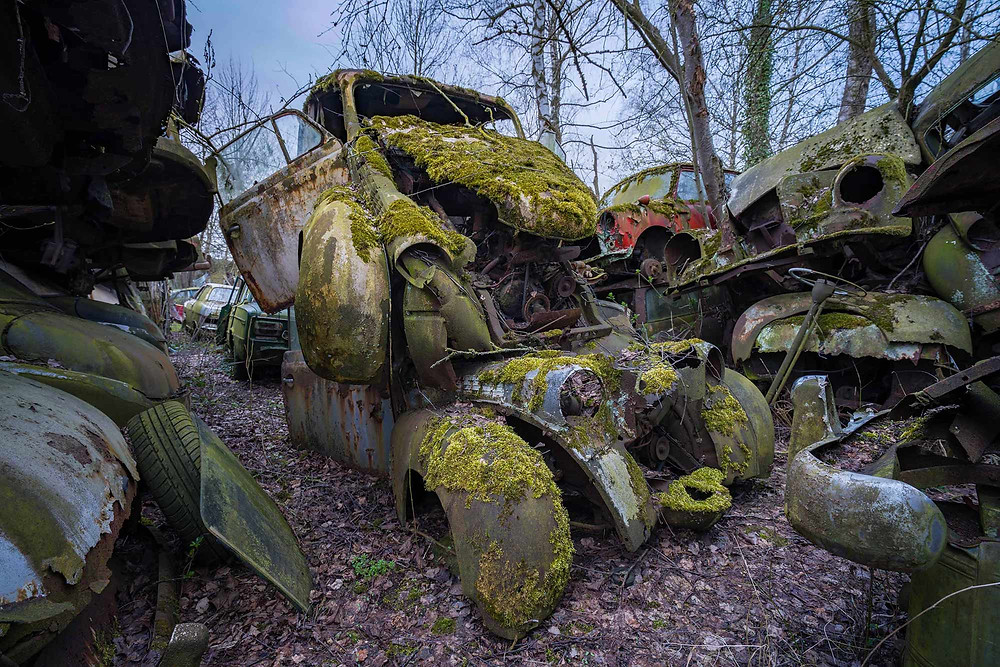 Abandoned car cemetery in Austria