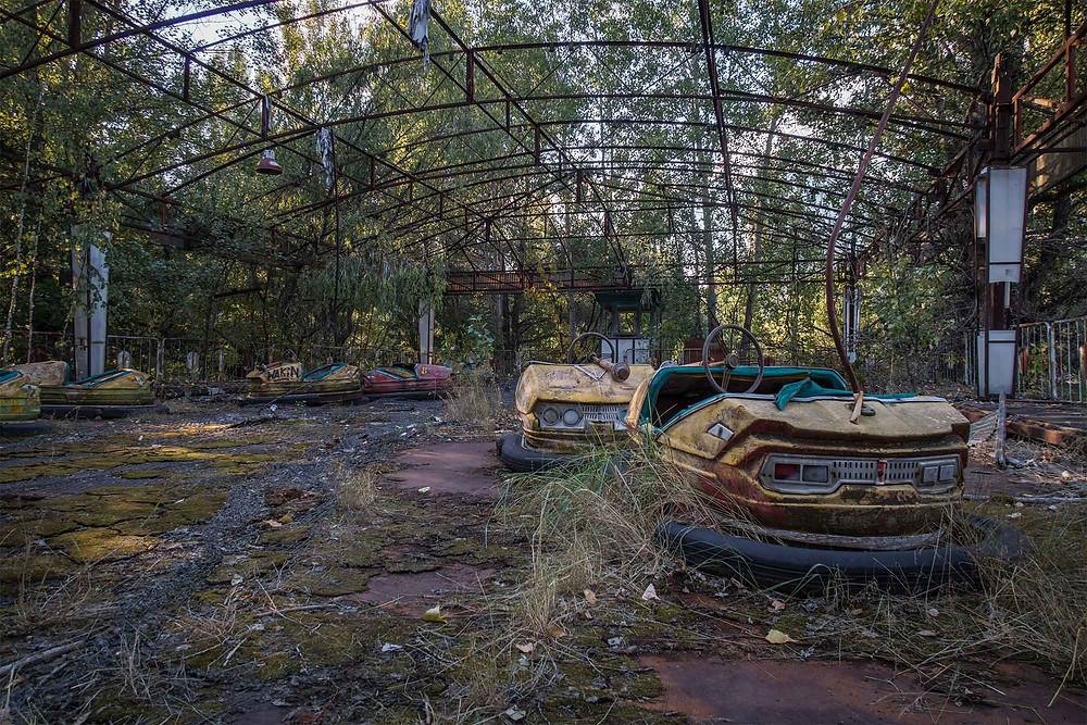 Bumpercars in Lunar park in Chernobyl