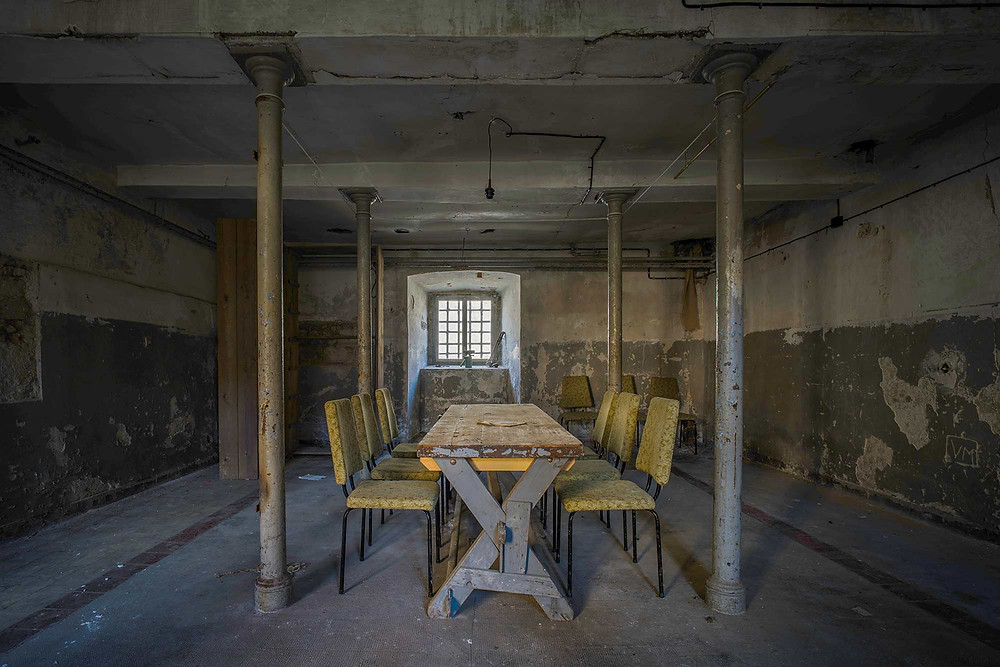 Dining hall in abandoned prison in Germany
