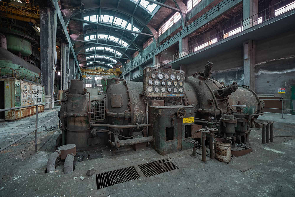 Abandoned turbine in power plant