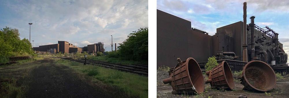 Exterior shot of abandoned steelworks in Belgium