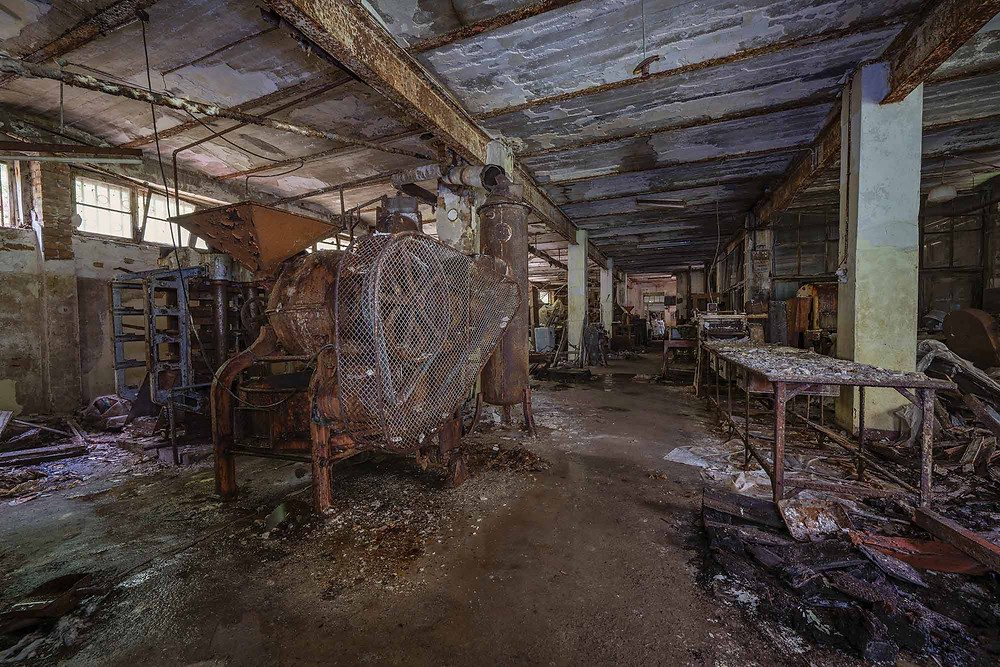 Production machines at abandoned chocolate factory in Germany