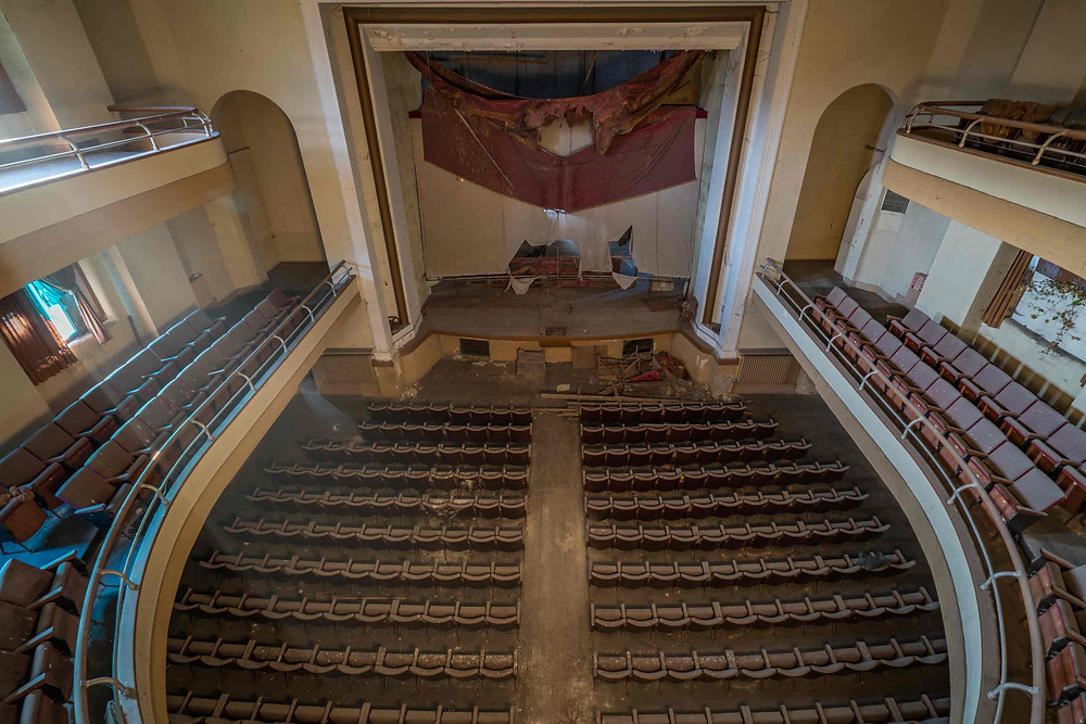 A view from the top floor in abandoned theater