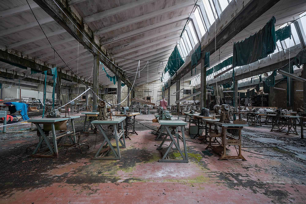 Overview of the factory floor in abandoned Knitting Factory