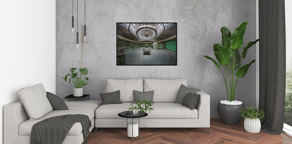 Photographic art print of Futuristic Control Room on wall in living room