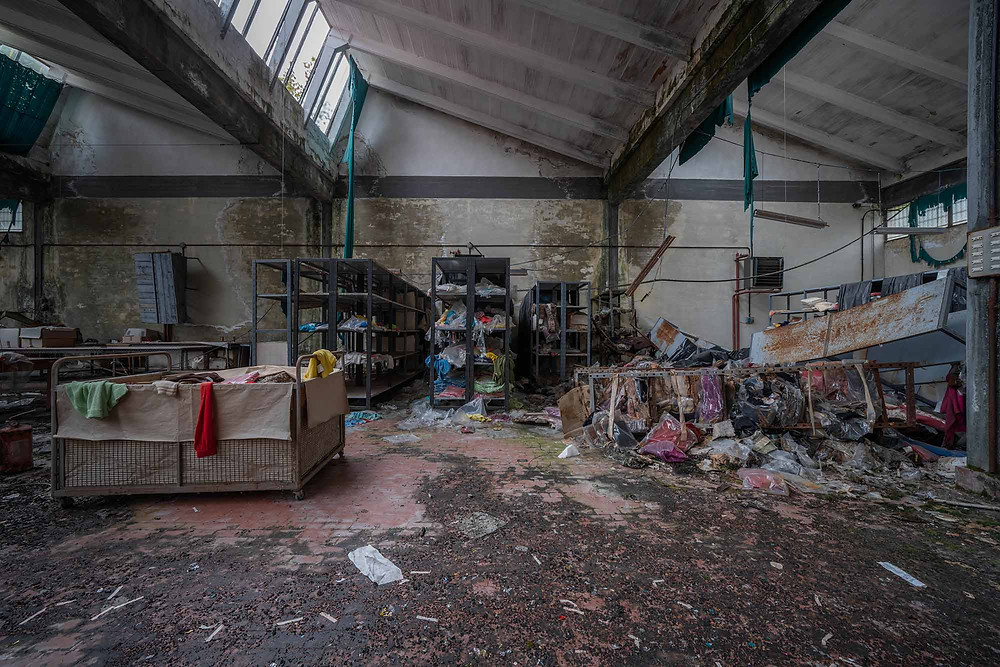 Decaying floor in abandoned factory