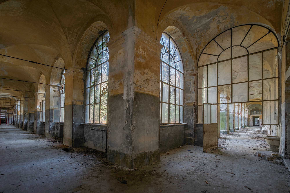 Beautiful windows on abandoned mental hospital
