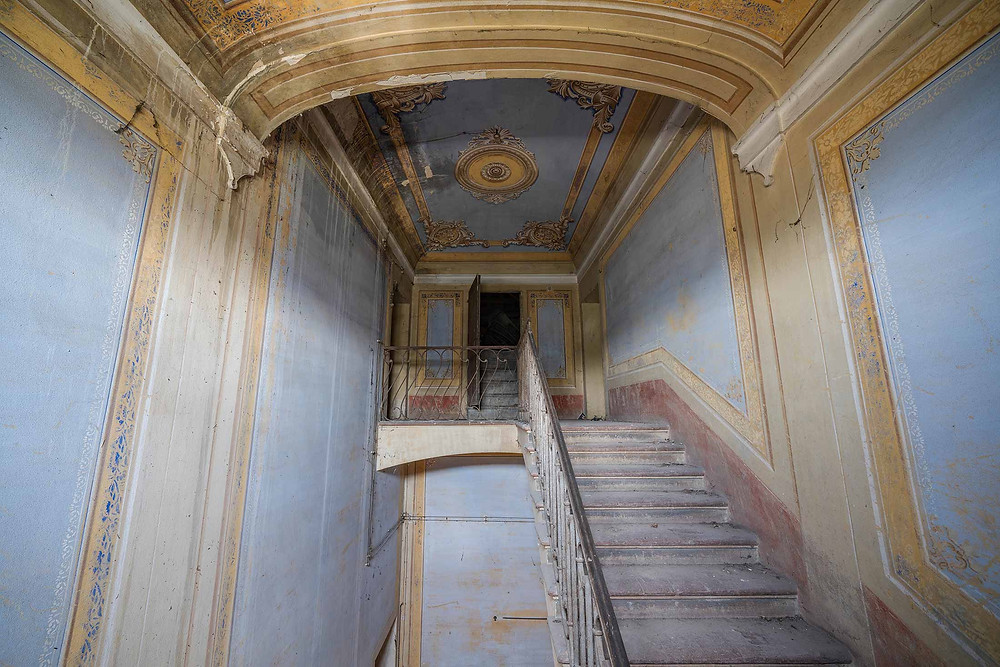 Beautiful staircase in abandoned Villa Pavone