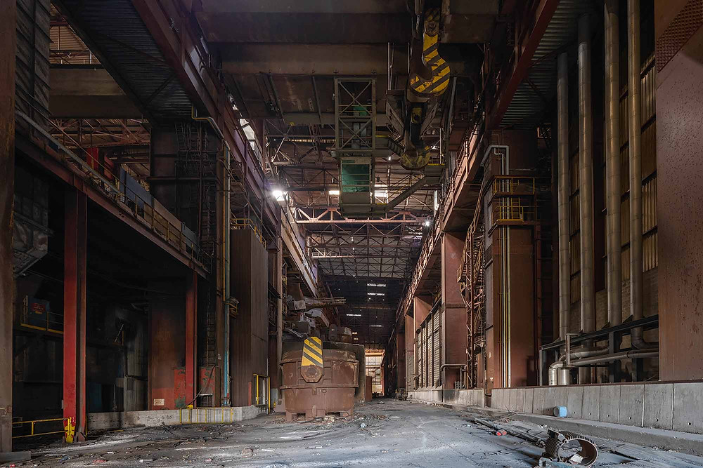 Large smelters on abandoned steel factory in Belgium