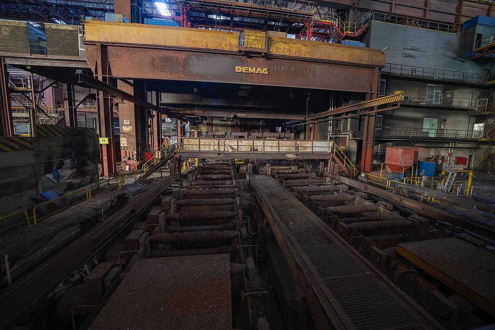 Forladt maskine til støbning af stålbarer