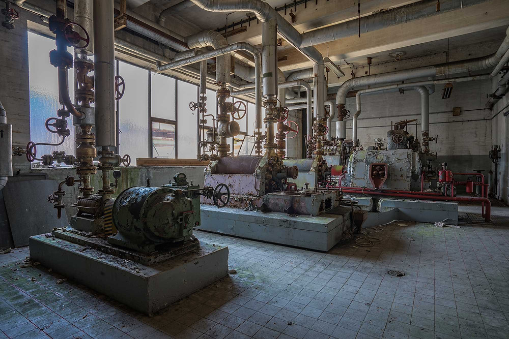 pumps and valves at abandoned power plant