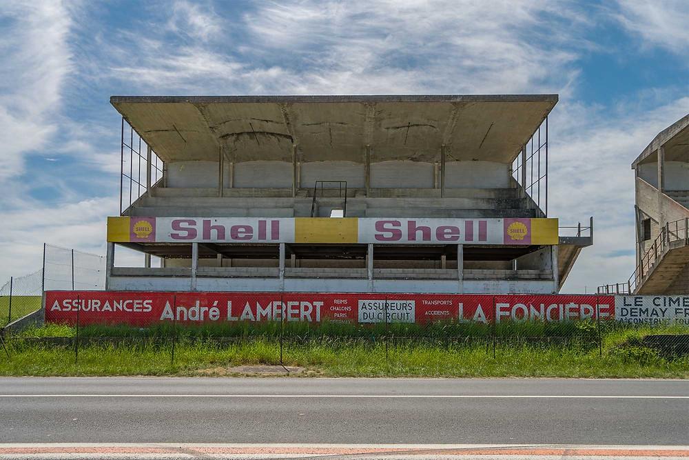 Abandoned racetrack Circuit de Reims Gueux shell grandstand