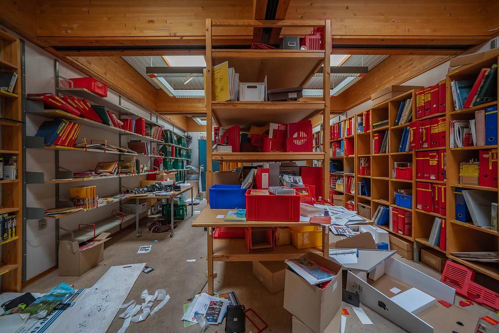 Books left at abandoned school in Denmark