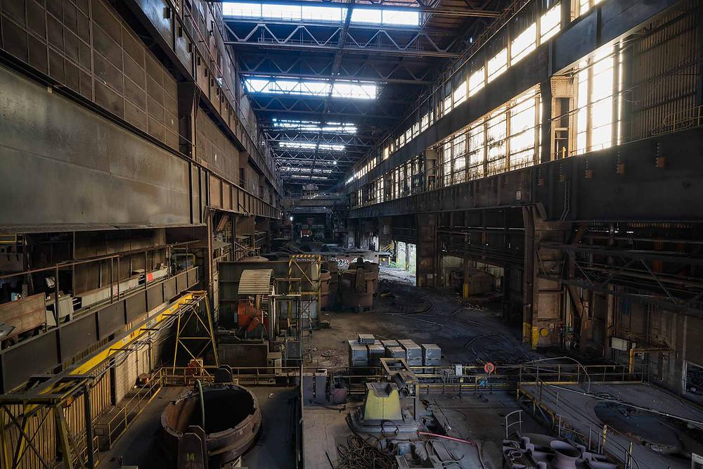 Forladt stålværk i Belgien