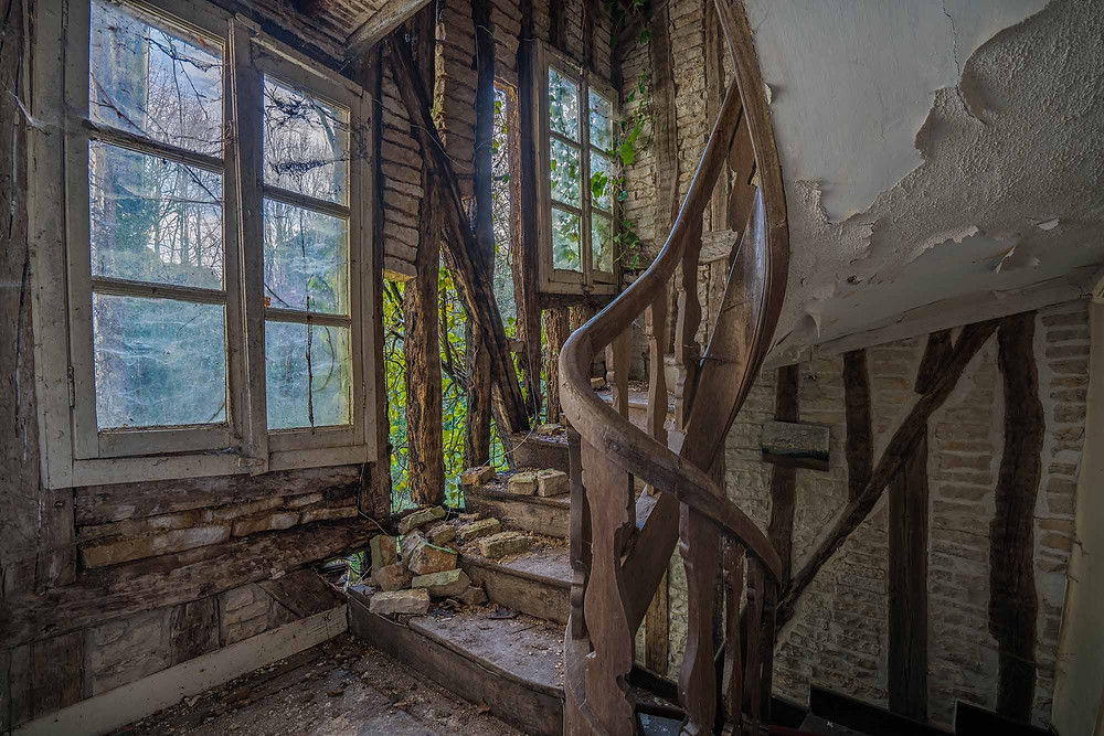Nature takes over this abandoned mansion in France