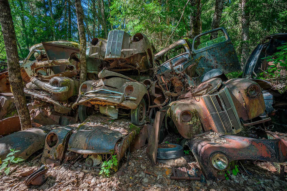 Piles of abandoned cars