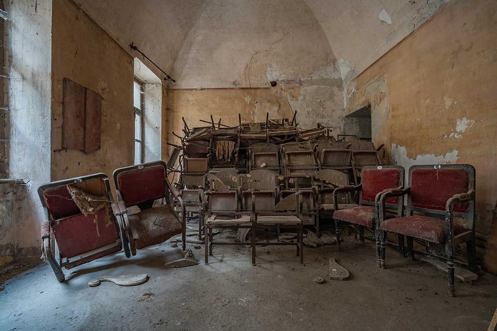 Abandoned Teatro Balconi chairs