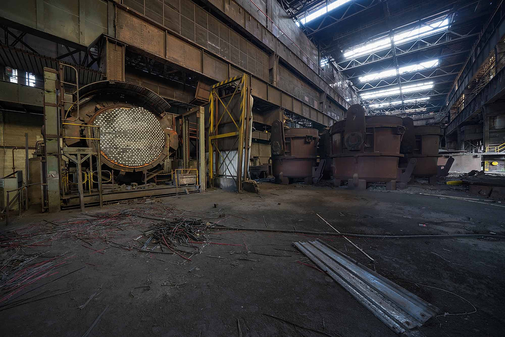 Smelters on abandoned Heavy Metal steelworks in Belgium