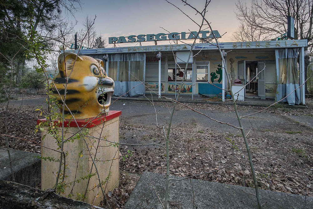 Shops in abandoned theme park in Italy