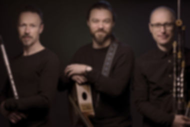 Professional Studio Shot of THE DIVINERS, with Instruments.