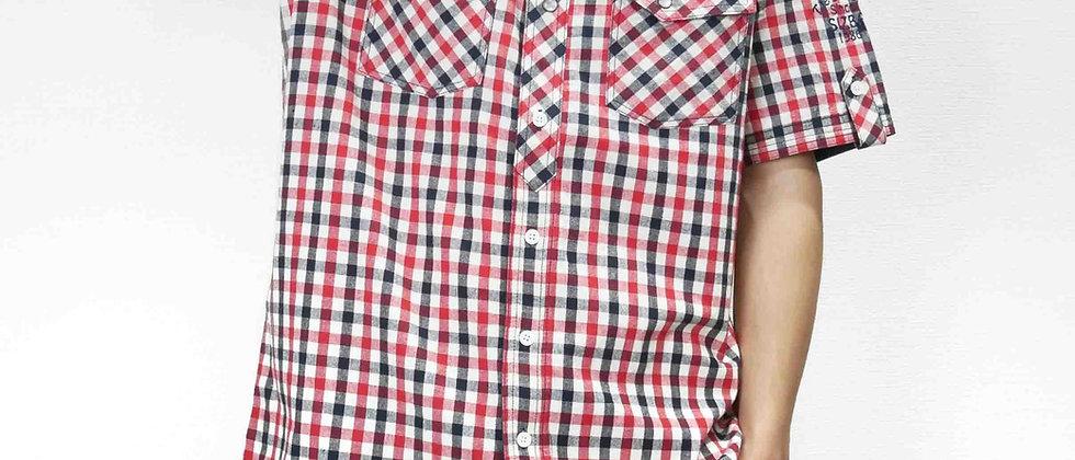 半袖両胸ポケットチェック柄ロゴシャツ