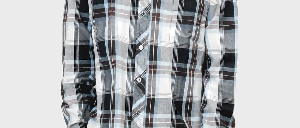 長袖チェック柄 デザインシャツ