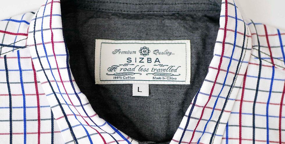 半袖両胸ポケットチェック柄シャツ1