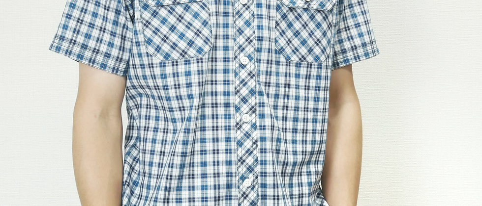 半袖両胸ポケットチェック柄ポロシャツ2