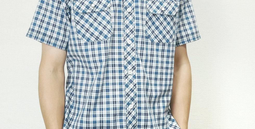 半袖両胸ポケットチェック柄ポロシャツ