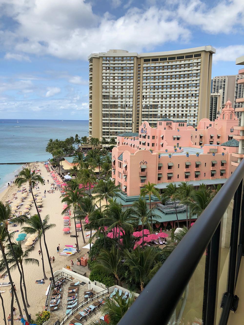 Looking towards the historic Royal Hawaiian Hotel (pink) and it's next door neighbor, the Sheraton Waikiki from the a lanai at Outrigger Waikiki Beach
