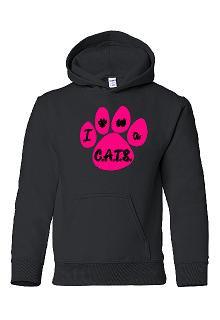 ICDC Pawprint Hoodie in Black or Pink