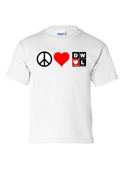 DWOL Peace, Love, DWOL Tshirt Youth and Adult