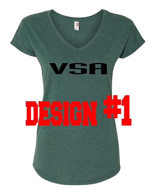 Ladies Heather Green VNeck 2 design choices (VSA)