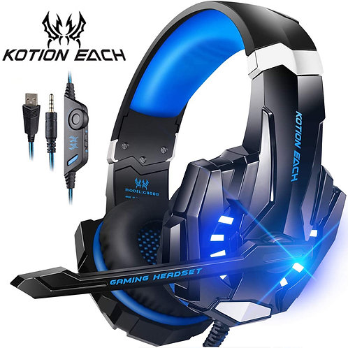 Gaming Headset w/Deep Bass Headphone & Mic LED Light for PS4 Laptop PC Gamer