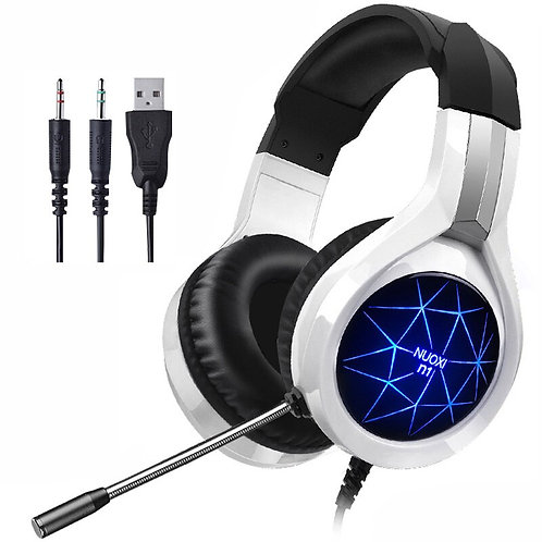 Pro Gaming Headset 3.5mm Headphones With Mic LED Light for PC Gamers