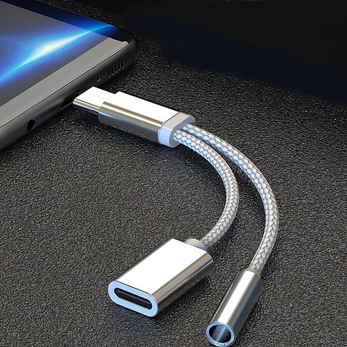 Huawei P20 Pro Lite 2 in 1 USB Type C Charging Cable Type-C Headphone Adapter