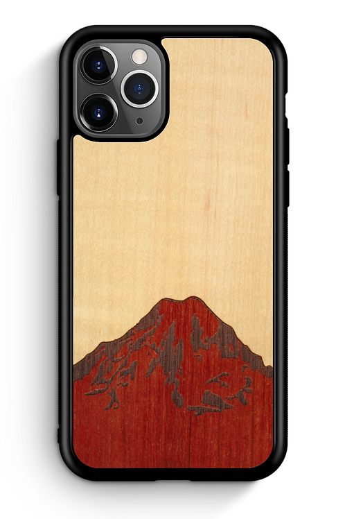 Slim Wooden Phone Case - Mt. Rainier (Shimmering Maple Sky)